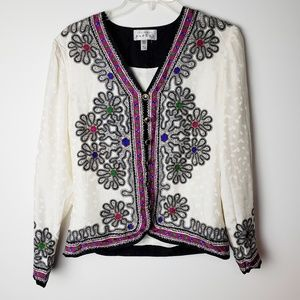 Adrianna Papell 100% Silk Cardigan Blouse Size 4